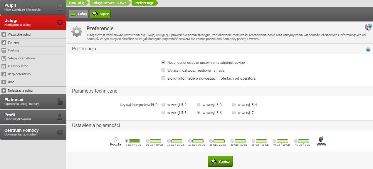 Zmiana PHP na serwerze home.pl