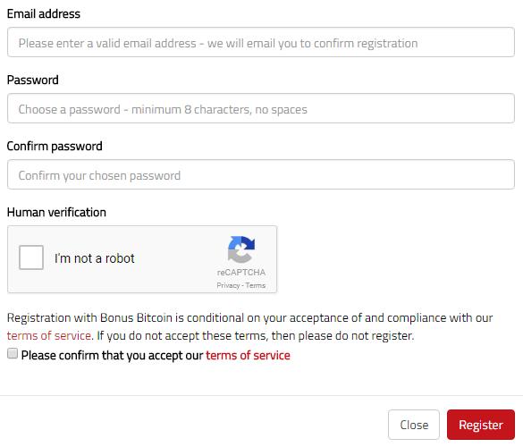 Rejestracja BitFun BonusBTC