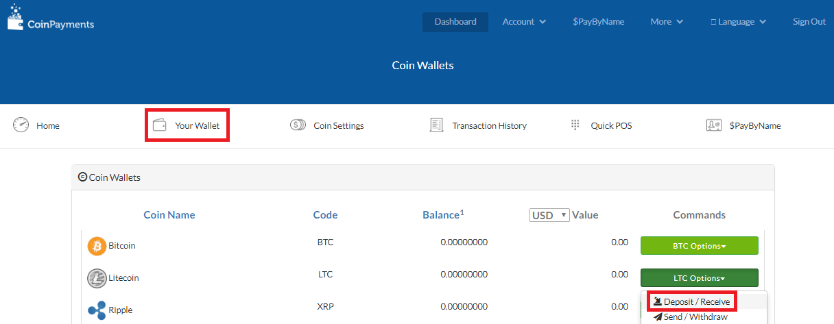 Adres portfela CoinPayments.net