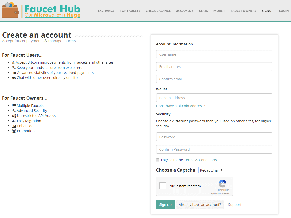Rejestracja FaucetHub.io