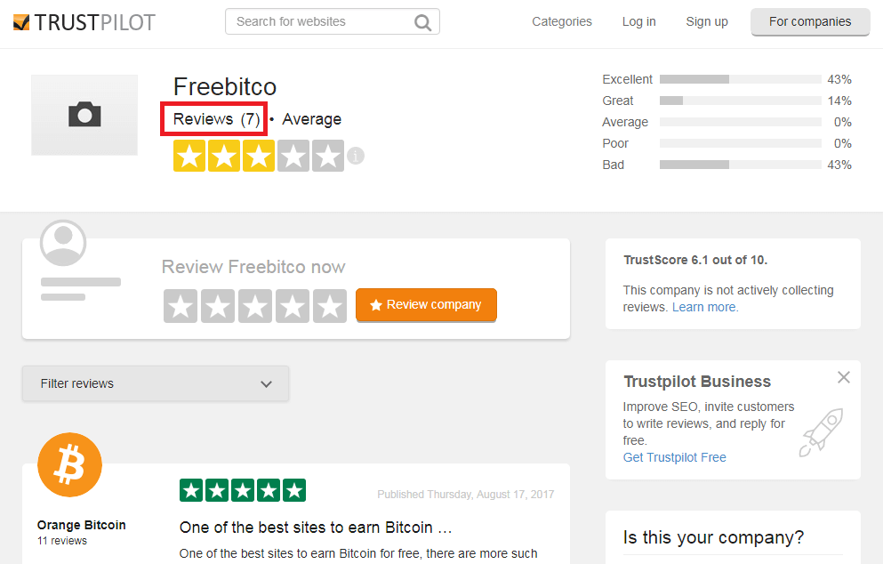 TrustPilot Freebitco.in