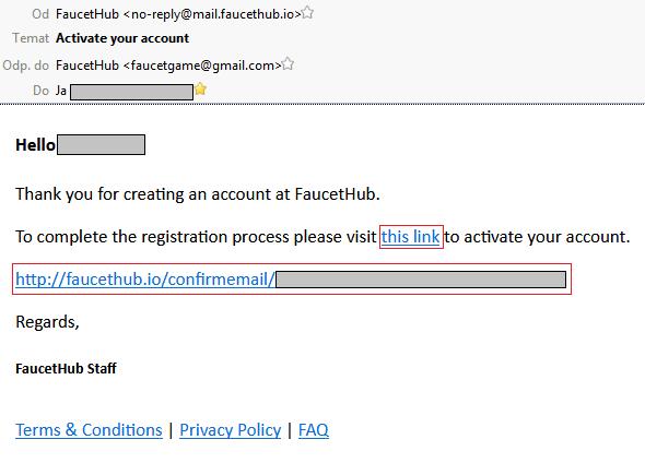 FaucetHub.io email potwierdzający